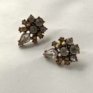 J. Crew // Silver, Yellow Stud Statement Earrings